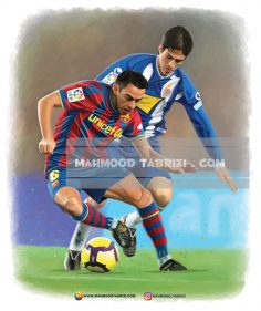 Painting soccer players in Barcelona