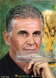 Portrait painting by Carlos Queiroz by Mahmoud Tabrizi