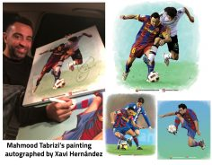Mahmood Tabrizi's painting autographed by Xavi Hernández