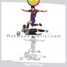 soccer paintings _ soccer drawing _ barcelona painting mahmood tabrizi