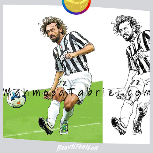 painting and sketching Pirlo _ footaball painter