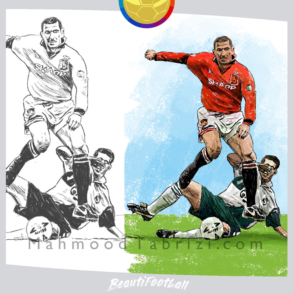 eric cantona painting _ manchester united painting